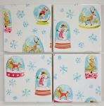 4 Ceramic Coasters in Laura Ashley Christmas Snowglobes